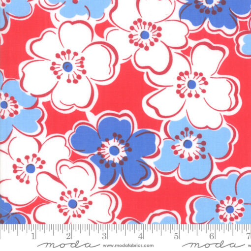 Moda Back Porch Friendship Flowers Country Red