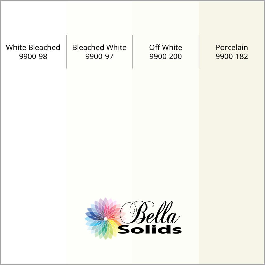 Moda Bella Solids – Unterschiede der 4 wichtigsten Weißtöne